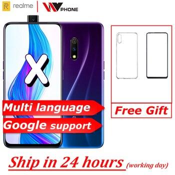 Перейти на Алиэкспресс и купить Мобильный телефон Realme x 4G LTE Snapdragon 710, четыре ядра, 6,53 дюймов, 4 ГБ, 64 ГБ, двойная камера заднего вида, 3765 мАч