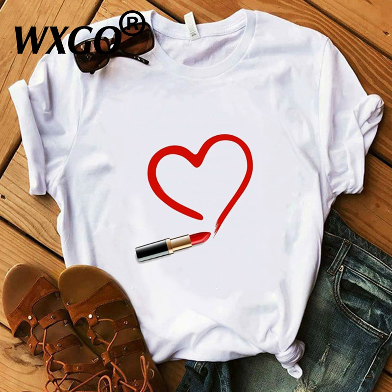 Vogue T-Shirt Cotton White Red Lipstick Heart T-Shirt Women Tops Summer Super Soft Casual Lady Tops Tees Hand Drawing Art Tshirt