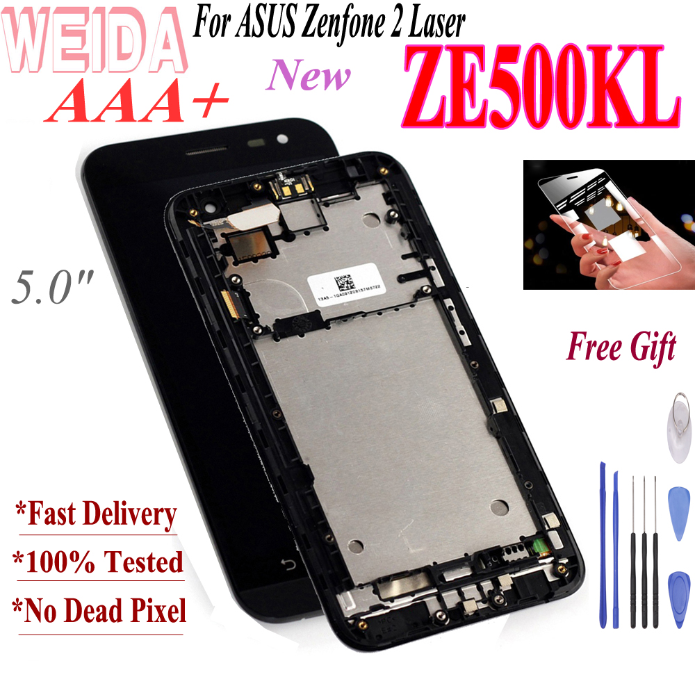 WEIDA For ASUS Zenfone 2 Laser ZE500KL Z00ED LCD Display Touch Screen Digitizer Assembly  5.0 Inch with Frame +Tool
