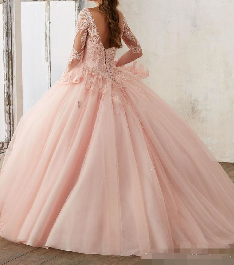 Baby Pink Quinceanera Dresses 2019 Lace Long Sleeve V-Neck Masquerade Ball gown Sweet 16 Princess Pageant prom Dress For Girls