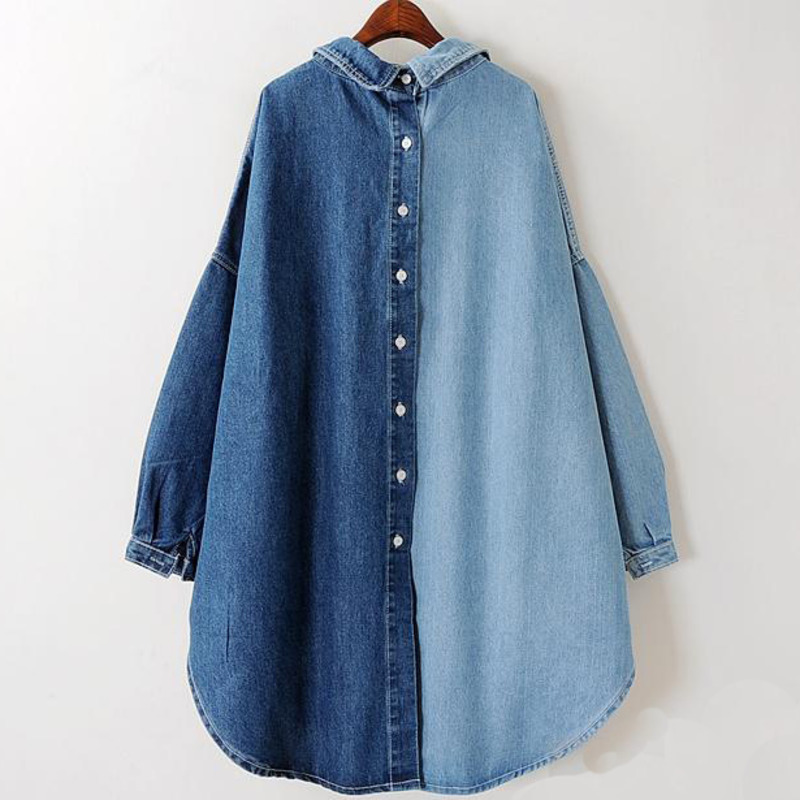 [EWQ]2020 Spring Autumn New Korean Tide Blue Turn-down Collar Batwing Sleeve Single Breasted Cotton Lady Denim Coat Female MA705