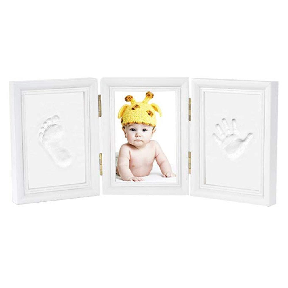 Newborn Baby Desk Decoration Handprint Gift Non-toxic Ink Pad Clean Solid Wood Safe DIY Footprint Tri-fold Photo Frame