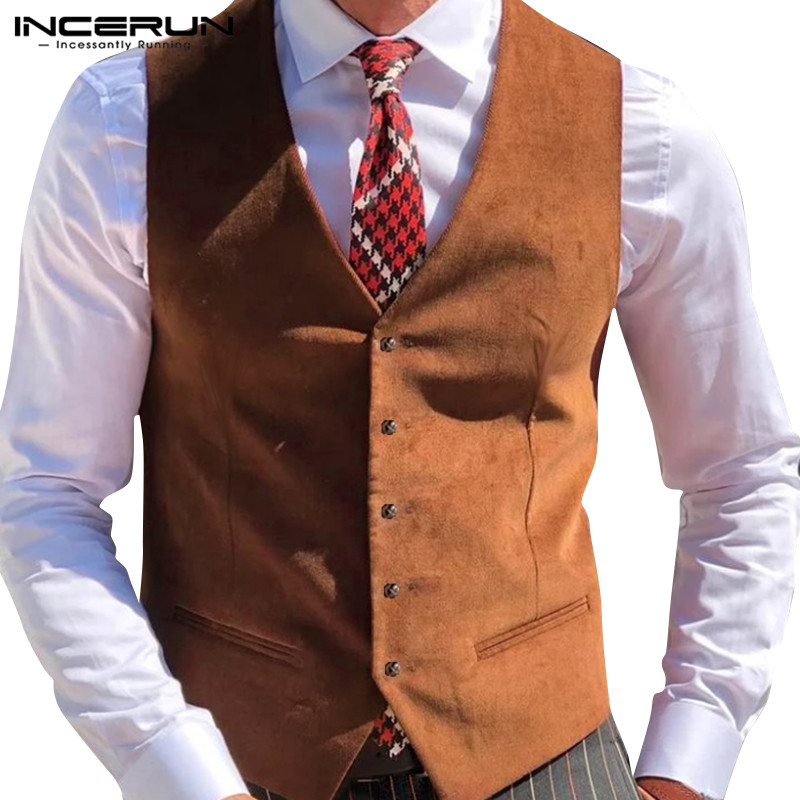 INCERUN Men Suit Vests Fashion Sleeveless Solid Color Casual Business Vests Gentleman Elegant Formal Waistcoat Button Tops S-3XL
