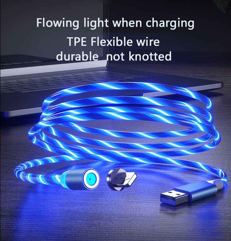 1m Magnetic charging Handy Kabel USB Typ C Fluss Luminous Beleuchtung Daten Draht für Samsung Huawei LED Micro kable
