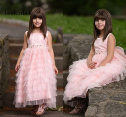 Cute Pink Wedding Flower Girl Dresses Tiered Skirts Ruffles Tulle Bead Sashes Floor Length Girl Lace Pageant  Birth Gown Custom