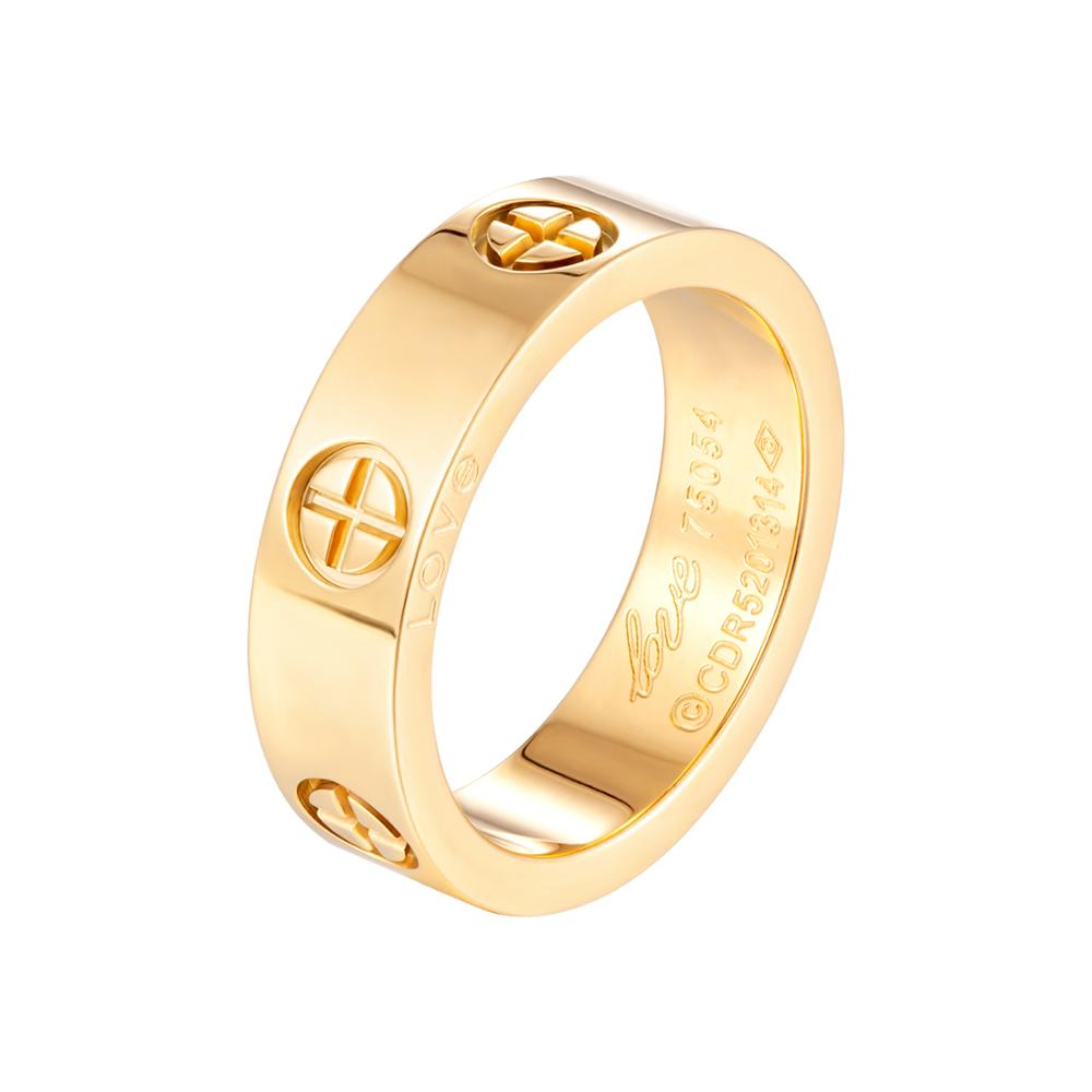 Fashion Classic Cross Stainless Steel Rings For Women Men Gold Color Luxury Brand Jewelry Wedding Gift