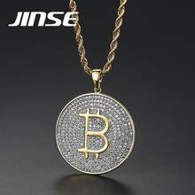 JINSE Gold Color Pave Full Iced Out Zircon Bitcoin Pendant Big Letter Pendant Necklace Charm For Men Women Street HipHop Jewelry(China)