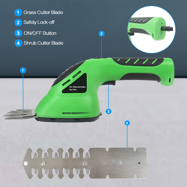 3.6V 2-in-1 Cordless Grass Shear Lithium-ion Rechargeable Hedge Grass Trimmer Shears For Lawn Mower Shrub shear Garden Tools 1