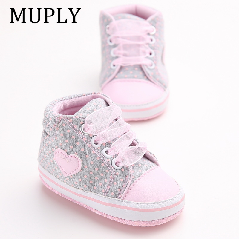 Infant Newborn Baby Girls Polka Dots Heart Autumn Lace-Up First Walkers Sneakers Shoes Toddler Classic Casual Shoes