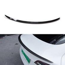 Tronco traseiro spoiler para tesla modelo 3 2017-2019 2020 2021 tronco traseiro lábio abs de fibra de carbono asa spoiler estilo do carro