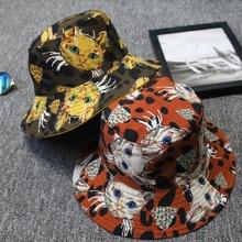 Hat Double-Sided Visor Women Print Basin Wearing Fishing-Hat Hip-Hop-Cap Folding Reversible