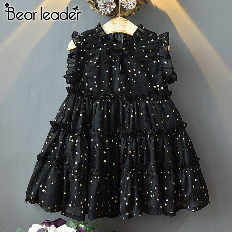 Bear Leader Girls Princess Dress New Summer Girl Kids Party Dresses Starry Sequins Outfits Birthday Gown Children Clothing 3 7Y