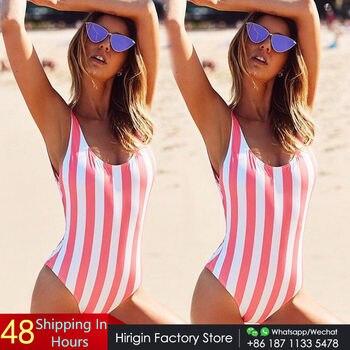 2017 Sexy Women One Piece Suit Swimming Costume Swimsuit Monokini Striped Swimwear Push Up Paded Bikinis