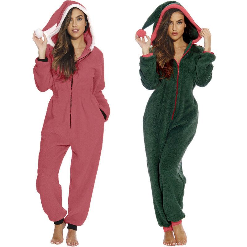 Women Winter Solid Christmas Hooded Jumpsuit Pajamas Fleece Warm Santa Sleepwear Xmas Cute Clothes Nightwear Home Wear Suits
