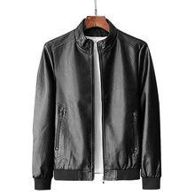 Men Genuine Leather Jacket Zipper Pockets 2020 New Autumn Slim Short Male Moto C