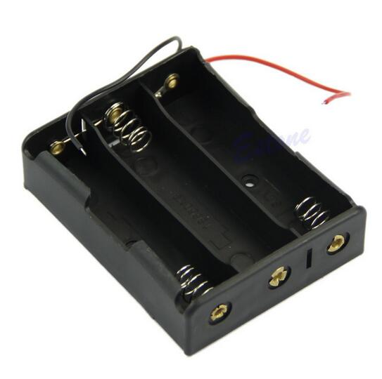 HJXY 18650 Battery Case Storage Box Case Plastic Holder With Wire Leads for <font><b>3x18650</b></font> Batteries Soldering Cnnecting Black Digital image