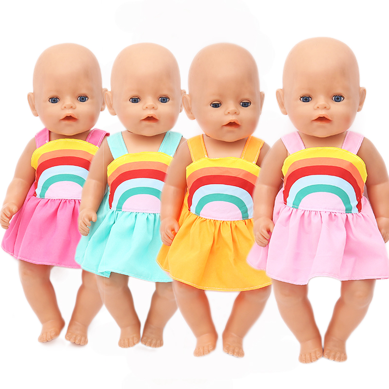 Rainbow Dress Doll Clothes Born Babies Fit 17 Inch 43cm Doll Accessories For Baby Gift