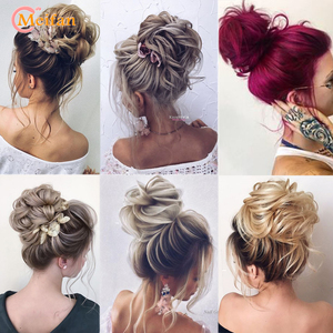 MEIFAN Synthetic Hair Buns Curly Scrunchy Chignon Elastic Natural Fake Messy Wavy Donut Wrap on Ponytail Extensions for Women