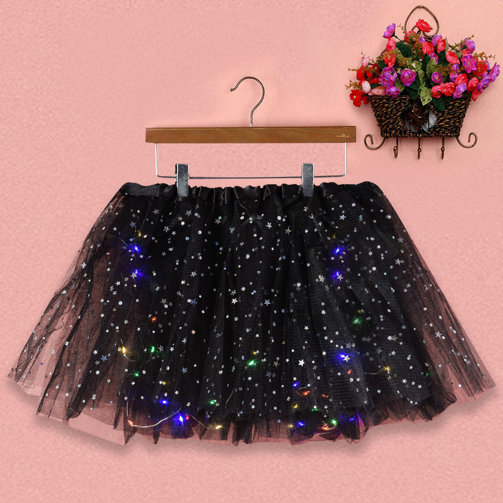 Women Star Girl Child Light Up Tulle Tutu Skirts Hen Party Halloween Led Clothes Sequins Mesh Wedding Princess Decorations #T1P