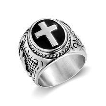 Горячая Распродажа, мужское кольцо из нержавеющей стали 316L цвета: розовое золото, серебро, христианский крест, рука Божия