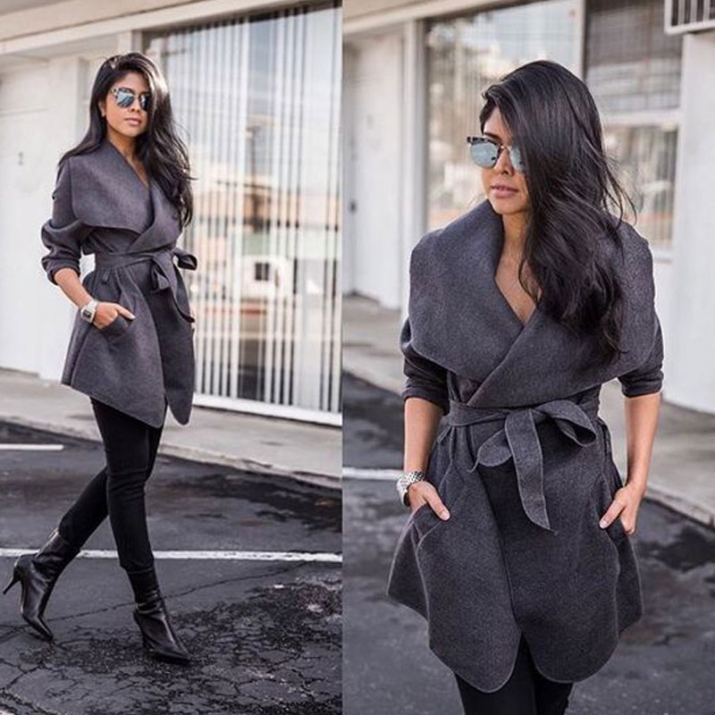 Winter Coats Women Autumn Woolen Blend Fashion Lapel Jackets Sexy V Neck Belt Lace-up Solid Casual Slim Overcoats Female Outer 2
