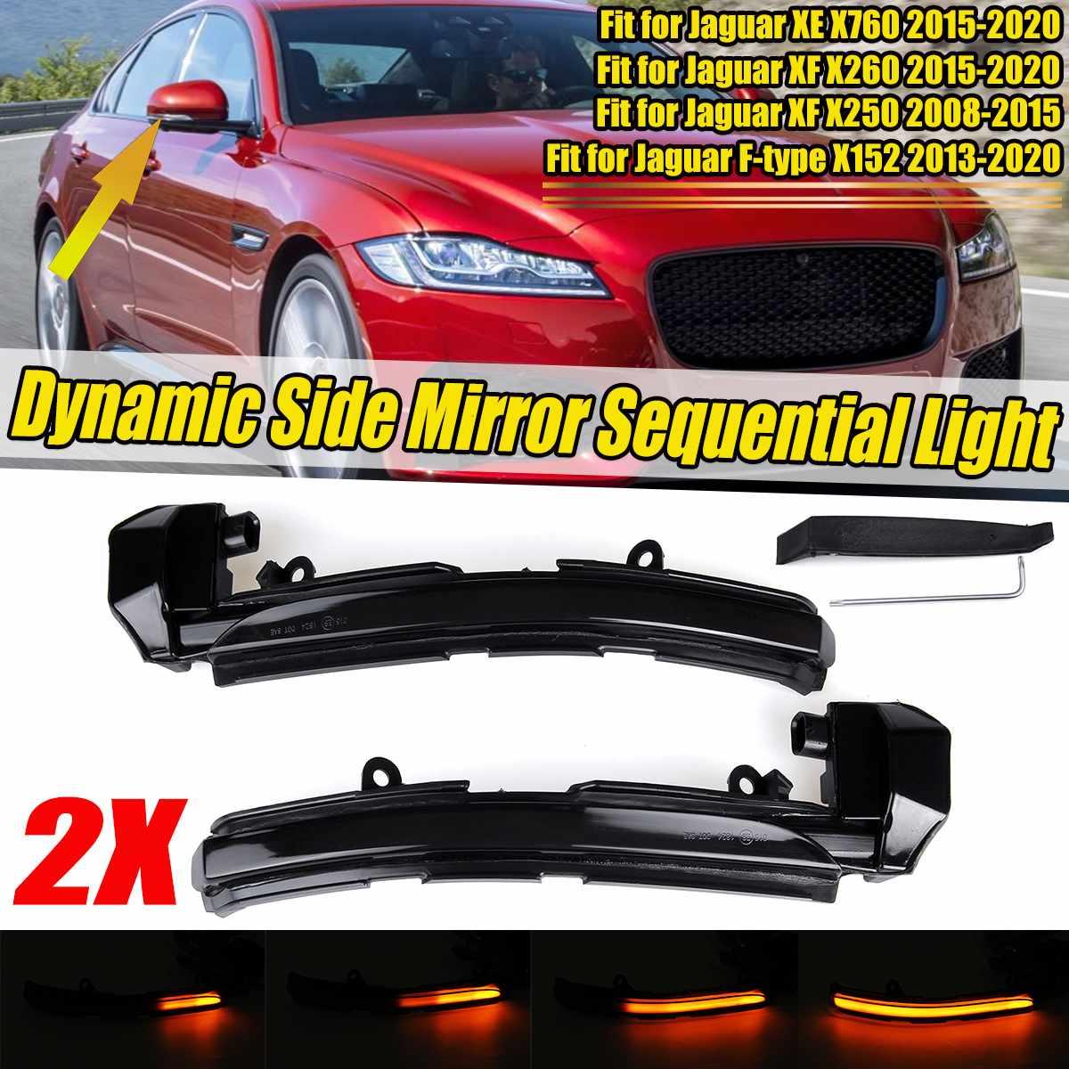 Par led dinâmico lado espelho retrovisor luz indicadora transformar luzes de sinalização lâmpada para jaguar xe xf xj F-TYPE xkr ipace x250 x260