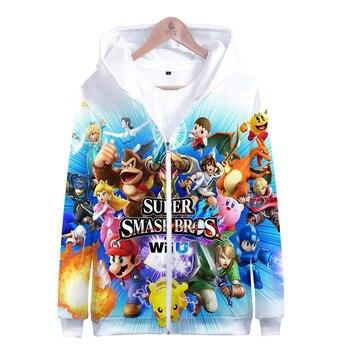 Gran oferta Super Smash Bros. Abrigo Harajuku para niños y niñas, Sudadera con capucha con cremallera definitiva, chaquetas informales de dibujos animados, abrigo para hombre 4XL