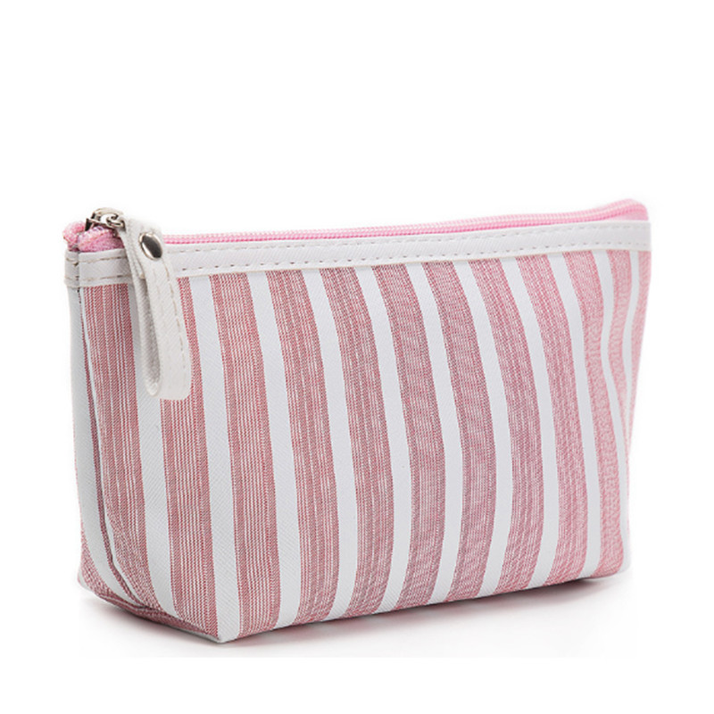 Multifunction Beauty Cosmetic Makeup Bags For Women Organizer Zipper Handbag Travel Toiletry Waterproof Striped Case Pouch Bags