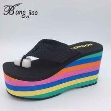 New 2019 Super High Heel Women Flip Flops Sandals Slippers Thick Bottom Platform Slope Beach female Rainbow Slides Shoes