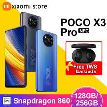 Poco x3 pro versão global 6gb 128gb/8gb 256gb snapdragon 860 smartphone 120hz dotdisplay 5160mah 33w nfc quad ai câmera