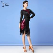 Новый бренд латинский танец кисточка платье сексуальный короткий международного современного костюма шифон комфортно танцевать с
