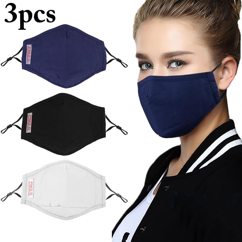 3pcs Solid Color Breathable Dustproof Mouth Mask PM2.5 Anti-Fog Anti-Dust Mask Mouth Cover Mask For Outdoor Random Color