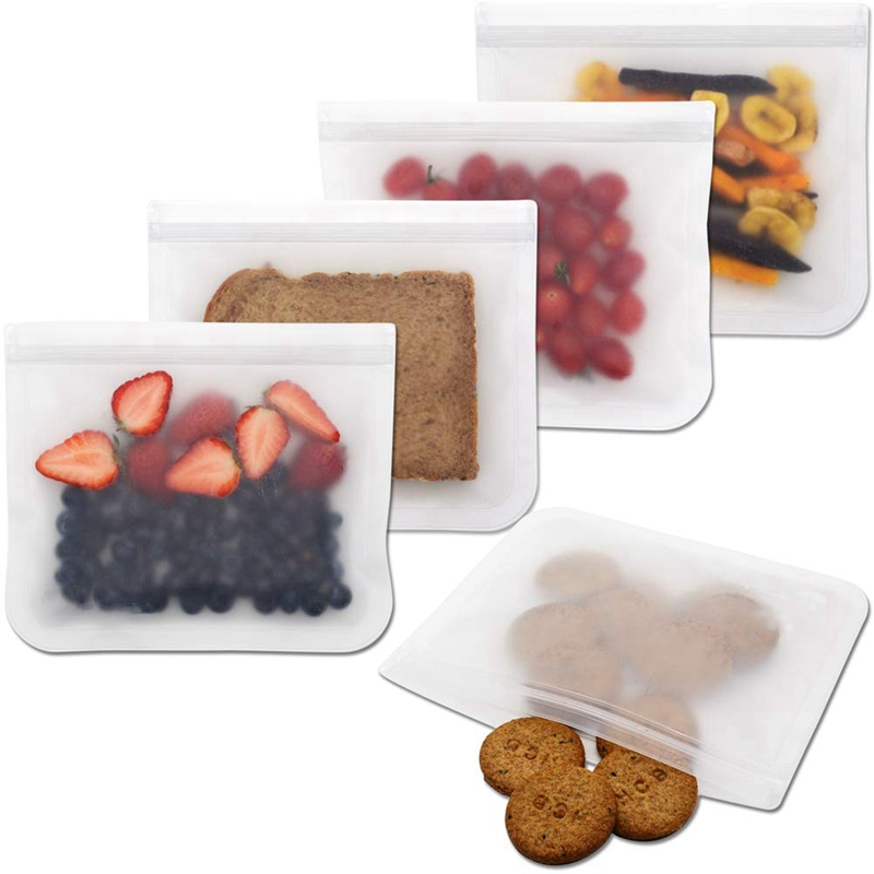 Quality Biodegradable Reusable Storage Bags - 5 Pack Leakproof Reusable Sandwich Bags - Extra Thick Snack & Lunch Bag - Ziploc