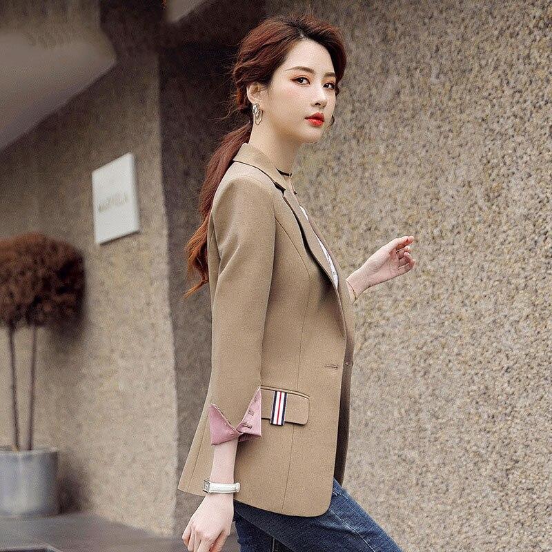 1pcs Women's Plus size Blazers coats 2020 Autumn Fashion cotton blend Splicing Small Suits jackets ladies Skinny Blazers Suits