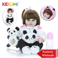 KEIUMI Wholesale 18'' Newborn Silicone Menina Reborn Baby Doll Cute Panda Cartoon Bebê Children's Day Gifts with 3 pcs Hair Clip(China)