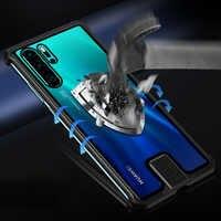 Vidro temperado Caso Difícil Para Huawei P30 Pro Caso Armação de Metal À Prova de Choque Capa Para Huawei Companheiro 20 Pró Honra 20 pro Nova Pro