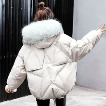 Winter 2019 Oversize Puffer Jacket For Women Outerwear Womens Parkas Fur Hooded Cotton Padded Female Coat Warm Outwear