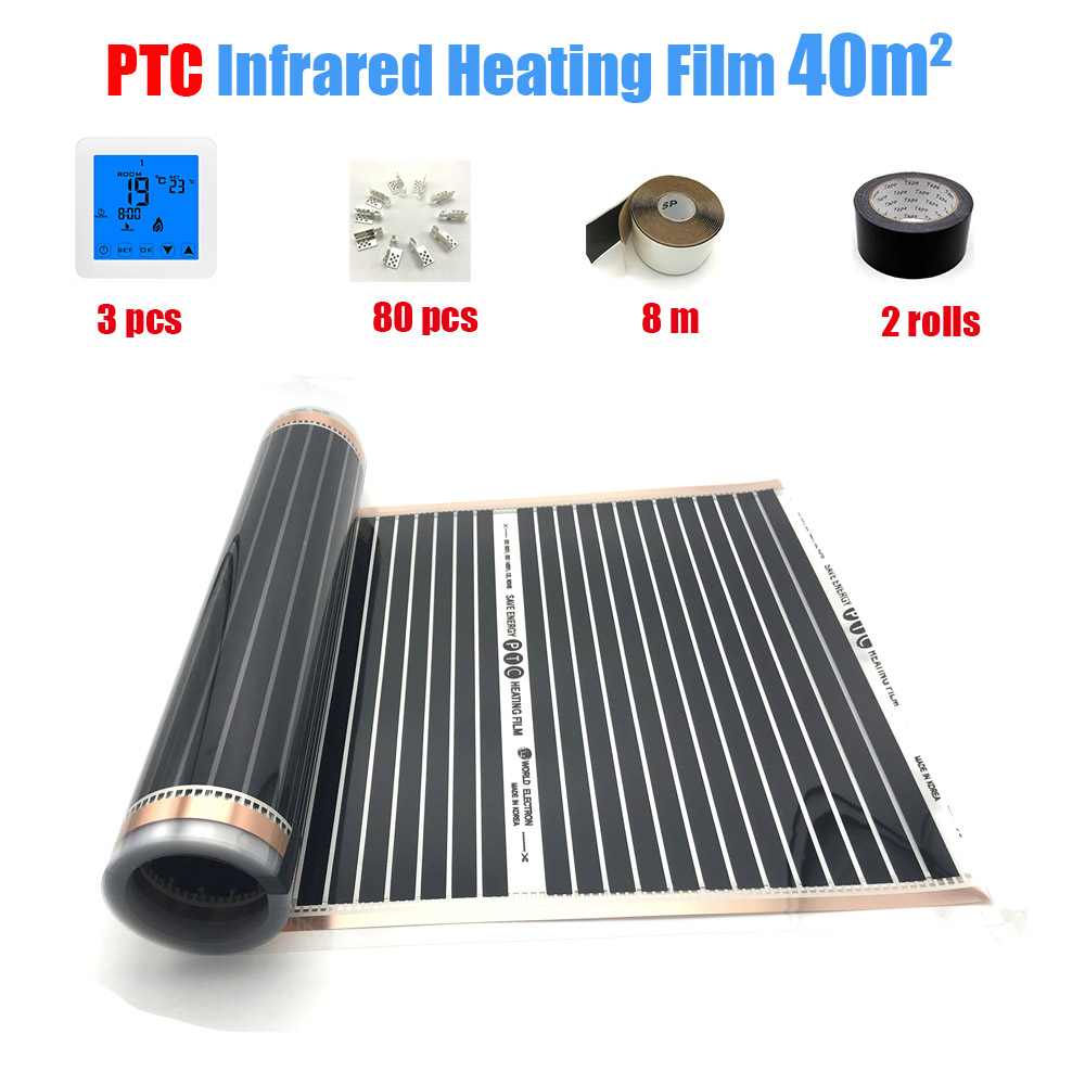 PTC Hot Film Heating Far Infrared Carbon Fber Bathstore Underfloor Heating Setup Heating Panels 40 Sq.m