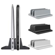 Alloy Adjustable Metal Vertical Laptop Stand Newly Designed 2 Slot Aluminum Desktop Dual Holder Up To 17.3 Inches