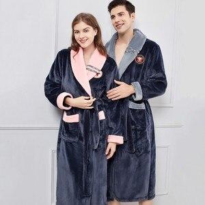Image 2 - الشتاء الدافئة عشاق كيمونو Bathrobe ملابس خاصة سيدة الرجال إطالة و رشاقته رداء الفانيلا رداء النوم غير رسمي Homewear حجم كبير 4XL