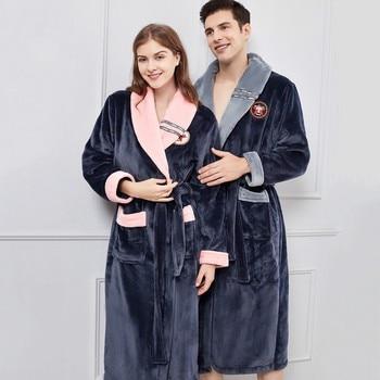 Winter Warm Lovers Kimono Bathrobe Sleepwear Lady Men Lengthen And Thicken Robe Flannel Casual Nightdress Homewear PLUS SIZE 4XL