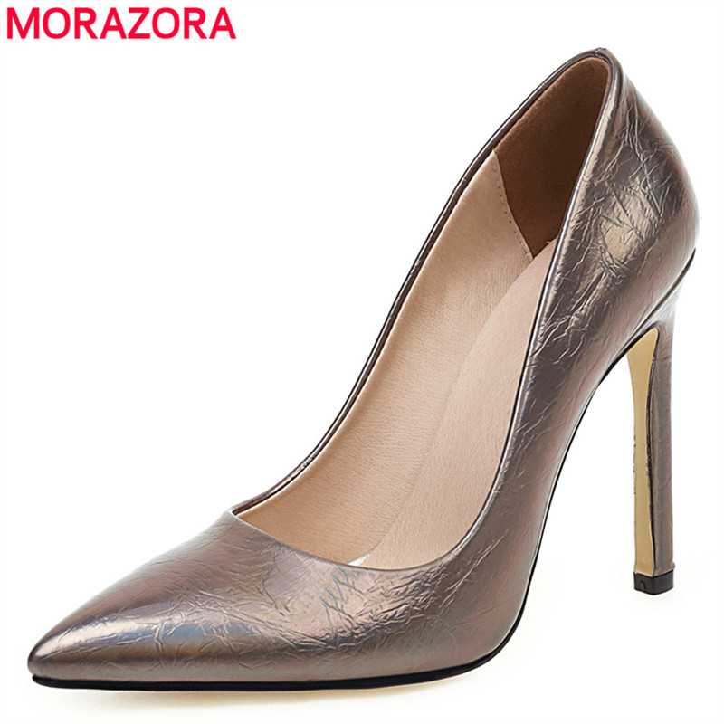 MORAZORA HOT SALE 2020 Fashion Stiletto High Heel Shoes Woman Pointed Toe Gun Color Women Pumps Ladies Party Wedding Shoes