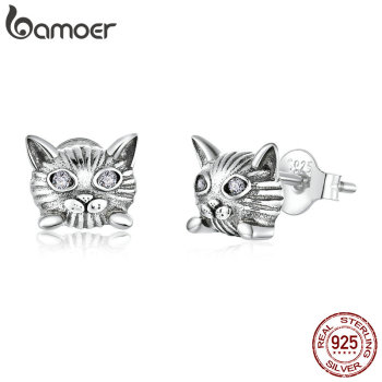 Bamoer Kitty Cat Animal Stud Earrings For Women 925 Sterling Silver Anti-allergy Ear Pins Gift For Girl Fine Jewelry SCE889
