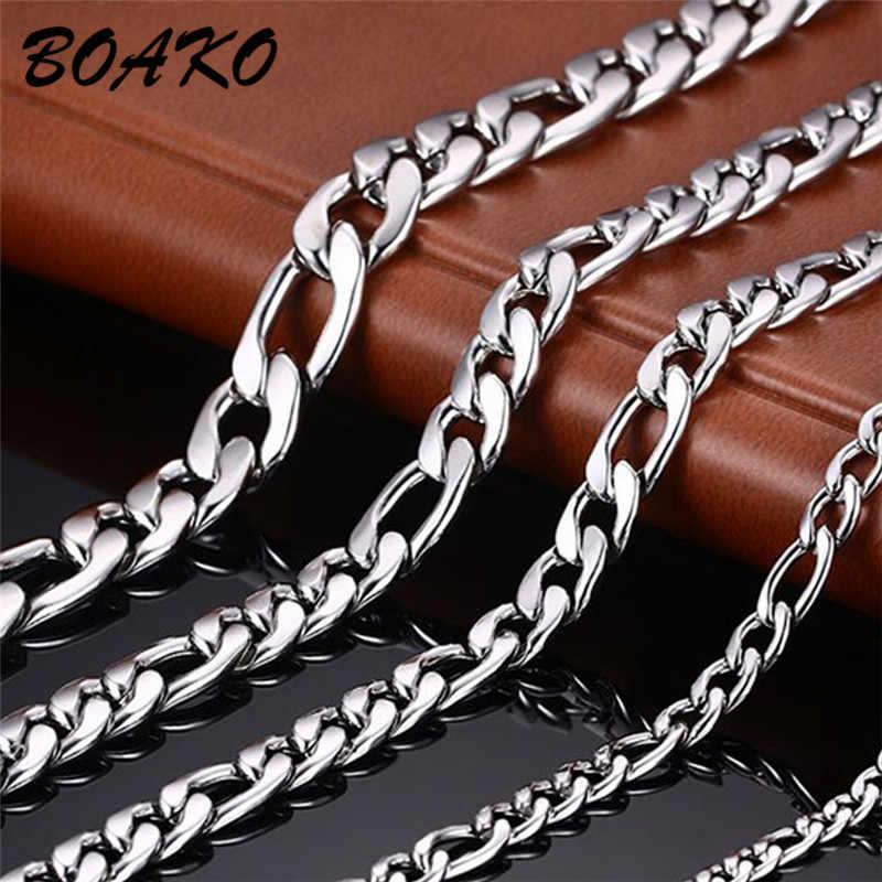 BOAKO nigdy nie znikną 3.5/5/7mm ze stali nierdzewnej naszyjnik kobiety mężczyźni łańcuchy płaskie Link naszyjnik naszyjnik biżuteria akcesoria mody