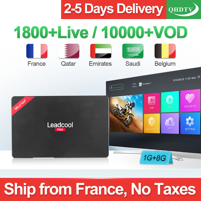 Smart 4K IPTV Box Android 8.1 Leadcool Pro RK3229 Quad Core H.265 Decoder Algerije Tunesië Arabisch Frankrijk Nederlandse België IP TV-in Set-top Boxes van Consumentenelektronica op  Groep 1