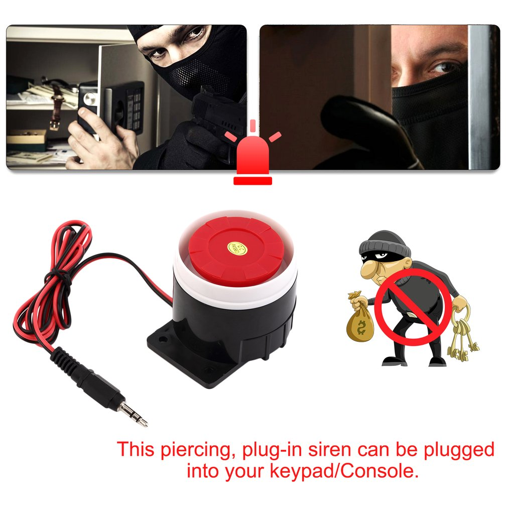 1Pcs Super Loud 120dB Sound Alarm System Compact DC 12V Indoor Siren Durable Wired Mini Horn Siren For Home Security Wholesale
