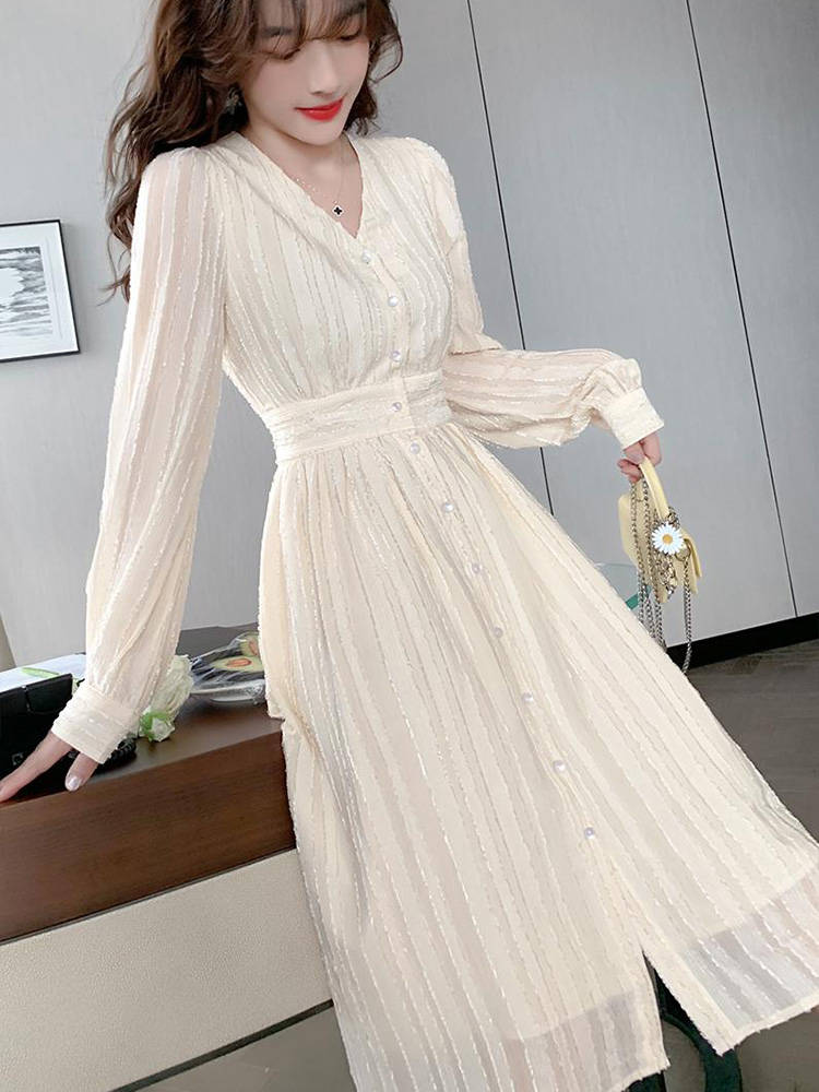 French Elegant Dress V-Neck Beige Office Lady New-Style Fashion Long-Sleeved Women Sandrid