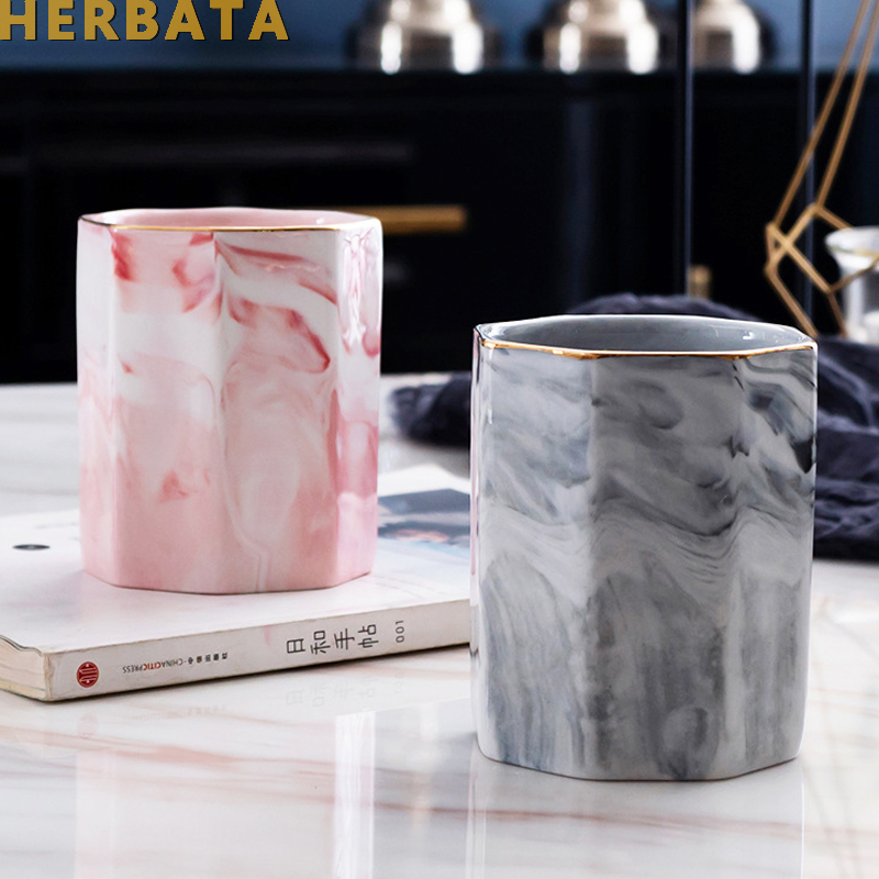 Marble Print Pen Holder Nordic Style Pen Holder Stationery Organizer Storage Tube For Home Office  Desk Stationery Decor CL-2523