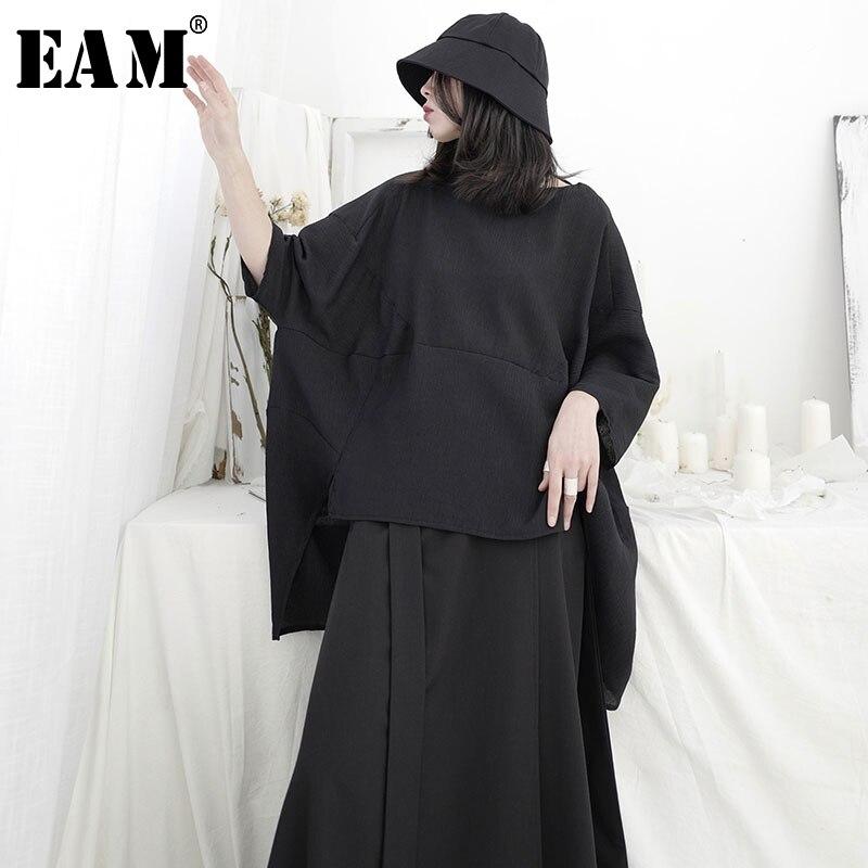 [EAM] Women White Brief Irregular Big Size T-shirt New Round Neck Three-quarter Sleeve Fashion Tide Spring Summer 2020 1U951