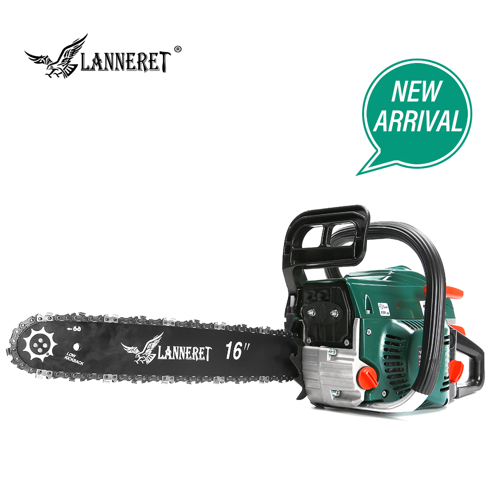 LANNERET Gasoline Chainsaw Chain Saw 45CC Wood Cutter 2-Stroke 1.7kw Petrol Engine Chain Saw With Saw Chain And Blade Top Handle